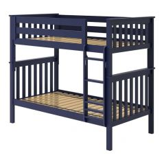 Solid Wood Bunk Bed w Vertical Ladder - All In One Design - Twin over Twin - Blue