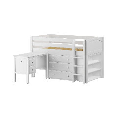 "Solid Wood Storage Loft Bed - Vertical Ladder, Desk, Dresser, Bookcase - Modular Design - Panel - 51"" H - Twin - White"