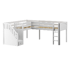 """Solid Wood Corner Loft Bed w Ladder and Staircase - L - Modular Design - Panel - 51"""" H - Single - White"""