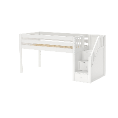 """Solid Wood Loft Bed w Staircase on End - Modular Design - Panel - 51"""" H - Twin - White"""