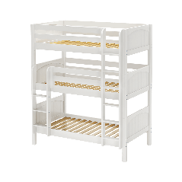 "Solid Wood Triple Bunk Bed w Vertical Ladder - Modular Design - Panel - 92"" H - Single - White"