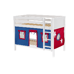 """Solid Wood Bunk Bed w Vertical Ladder and Curtain - Modular Design - Panel - 61"""" H - Single - Blue/Red - White"""