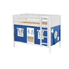 """Solid Wood Bunk Bed w Vertical Ladder and Curtain - Modular Design - Panel - 61"""" H - Twin over Twin - Blue/White - White"""