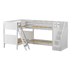 """Solid Wood Corner Bunk Bed w Ladder and Staircase - R - Modular Design - Panel - 66"""" H - Twin over Twin - White"""
