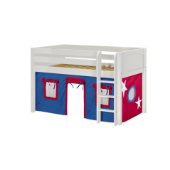 """Solid Wood Loft Bed w Vertical Ladder and Curtain - Modular Design - Panel - 51"""" H - Single - Blue/Red - White"""