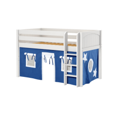 """Solid Wood Loft Bed w Vertical Ladder and Curtain - Modular Design - Panel - 51"""" H - Twin - Blue/White - White"""