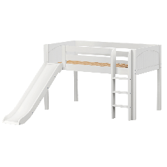 "Solid Wood Loft Bed w Vertical Ladder and Slide - Modular Design - Panel - 51"" H - Single - White"