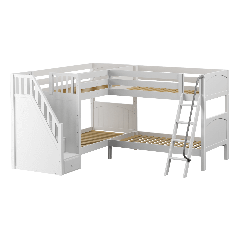 """Solid Wood Corner Bunk Bed w Ladder and Staircase - L - Modular Design - Panel - 66"""" H - Twin over Twin - White"""