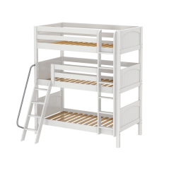 """Solid Wood Triple Bunk Bed w Angle Ladder - Modular Design - Panel - 92"""" H - Single - White"""
