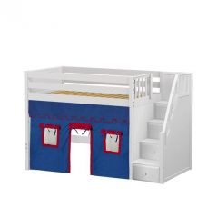 """Solid Wood Loft Bed w Staircase and Curtain - Modular Design - Panel - 51"""" H - Twin - Blue/Red - White"""