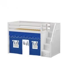 """Solid Wood Loft Bed w Staircase and Curtain - Modular Design - Panel - 51"""" H - Twin - Blue/White - White"""