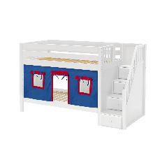 """Solid Wood Bunk Bed w Staircase and Curtain - Modular Design - Panel - 61"""" H - Single - Blue/Red - White"""