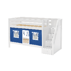 """Solid Wood Bunk Bed w Staircase and Curtain - Modular Design - Panel - 61"""" H - Twin over Twin - Blue/White - White"""