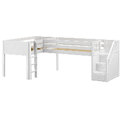 """Solid Wood Corner Loft Bed w Ladder and Staircase - R - Modular Design - Panel - 51"""" H - Twin - White"""
