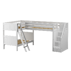 """Solid Wood Corner Loft Bunk Bed w Ladder and Staircase - R - Modular Design - Panel - 66"""" H - Twin over Twin - White"""