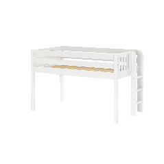 """Solid Wood Loft Bed w Vertical Ladder on End - Modular Design - Panel - 51"""" H - Twin - White"""