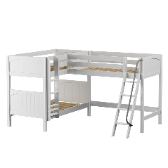 """Solid Wood Corner Loft Bunk Bed w Ladders - Modular Design - Panel - 66"""" H - Twin over Twin - White"""