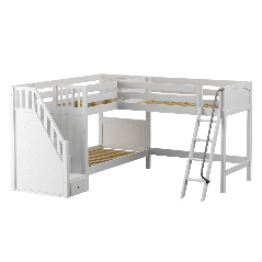 """Solid Wood Corner Loft Bunk Bed w Ladder and Staircase - L - Modular Design - Panel - 66"""" H - Twin over Twin - White"""