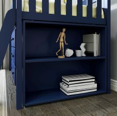 Solid Wood Low Bookcase - All In One Design - Blue