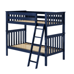 Solid Wood Bunk Bed w Angle Ladder and Trundle - All In One Design - Twin over Twin - Blue