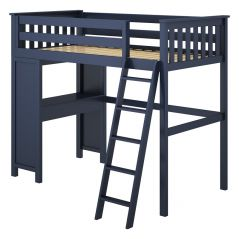 Solid Wood Loft Bed w Desk - All in One Design - Single - Blue