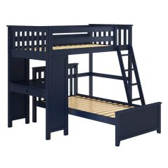 Solid Wood Loft Bed w Desk and Platform Bed - All in One Design - Twin - Blue
