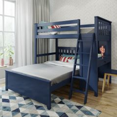 Solid Wood Loft Bed w Desk and Full Platform Bed - All in One Design - Twin over Full - Blue