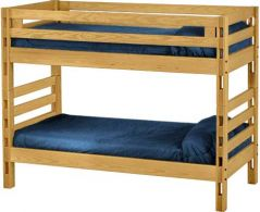 "Solid Wood Bunk Bed - Ladder Design - Single over Single - 65"" H - Classic"