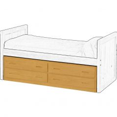 Solid Wood Under Bed Storage - Cottage Collection - 4 Drawers - Classic