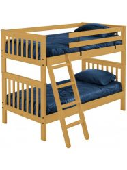 "Solid Wood Bunk Bed - Mission Design - Single over Single - 65"" H - Classic"