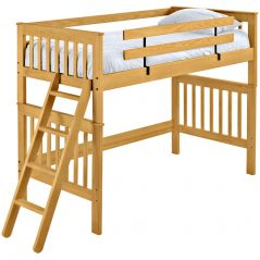 "Solid Wood Loft Bed - Mission Design - Twin - 65"" H - Classic"