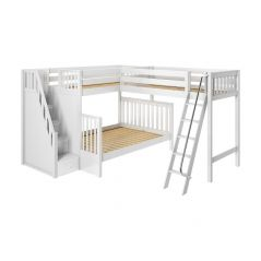 """Solid Hardwood Corner Loft Bunk Bed w Ladder and Staircase - L - Modular Design - Slatted - 71"""" H - Twin XL/Queen - White"""