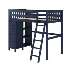 Solid Wood Loft Bed Storage - All in One Design - Twin - Blue