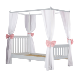 Solid Wood Princess Poster Bed w 2 Sets of Corner Fabrics - Modular Design