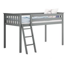 Solid Wood Loft Bed w Angle Ladder - One Box Design - Twin - Grey