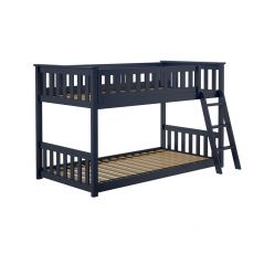 Solid Wood Bunk Bed w Angle Ladder - One Box Design - Twin over Twin - Blue