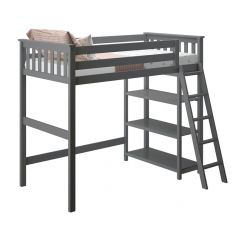 Solid Wood Loft Bed w Angle Ladder and Bookcase - One Box Design - Twin - Grey