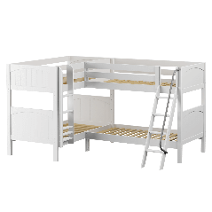 """Solid Wood Corner Bunk Bed w Ladders - Modular Design - Panel - 66"""" H - Twin over Twin - White"""
