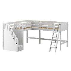 """Solid Wood Corner Loft Bed w Ladder and Staircase - L - Modular Design - Panel - 61"""" H - Single - White"""