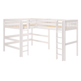 "Solid Wood Corner Loft Bed w Ladders - Modular Design - Slatted - 71"" H - Queen/Single XL - White"
