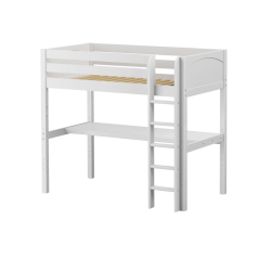 "Solid Wood Loft Bed w Vertical Ladder and Long Desk - Modular Design - Panel - 71"" H - Twin - White"