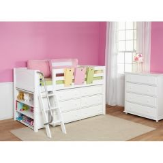 "Solid Wood Storage Loft Bed - Angle Ladder, Dresser, Bookcase - Modular Design - Panel - 51"" H - Twin - White"