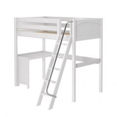 "Solid Wood Loft Bed w Angle Ladder and Corner Desk - Modular Design - Panel - 71"" H - Single - White"