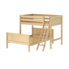 Solid Wood L-Shaped Bunk Bed w Angle Ladder - Modular Design