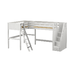 """Solid Wood Corner Loft Bed w Ladder and Staircase - R - Modular Design - Panel - 61"""" H - Twin - White"""
