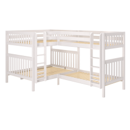 "Solid Wood Corner Bunk Bed w Vertical Ladders Side - Modular Design - Slatted - 71"" H - Queen/Single XL - White"