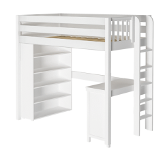 "Solid Wood Storage Loft Bed w Vertical Ladder, Desk and Bookcase - Modular Design - Panel - 71"" H - Twin - White"