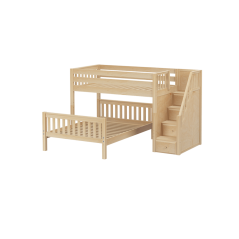 Solid Wood L-Shaped Bunk Bed w Staircase - Modular Design
