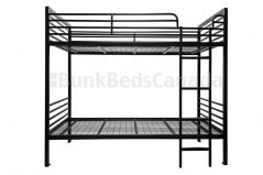 "Heavy Duty ""The 800"" Metal Bunk Bed with Mattresses in Black Color and ladder on the right"
