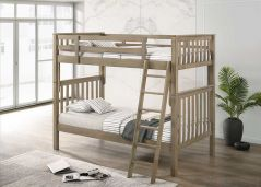 Nootka Bunk Bed with Angled Ladder and 2 Drawers - Twin over Twin - Grey